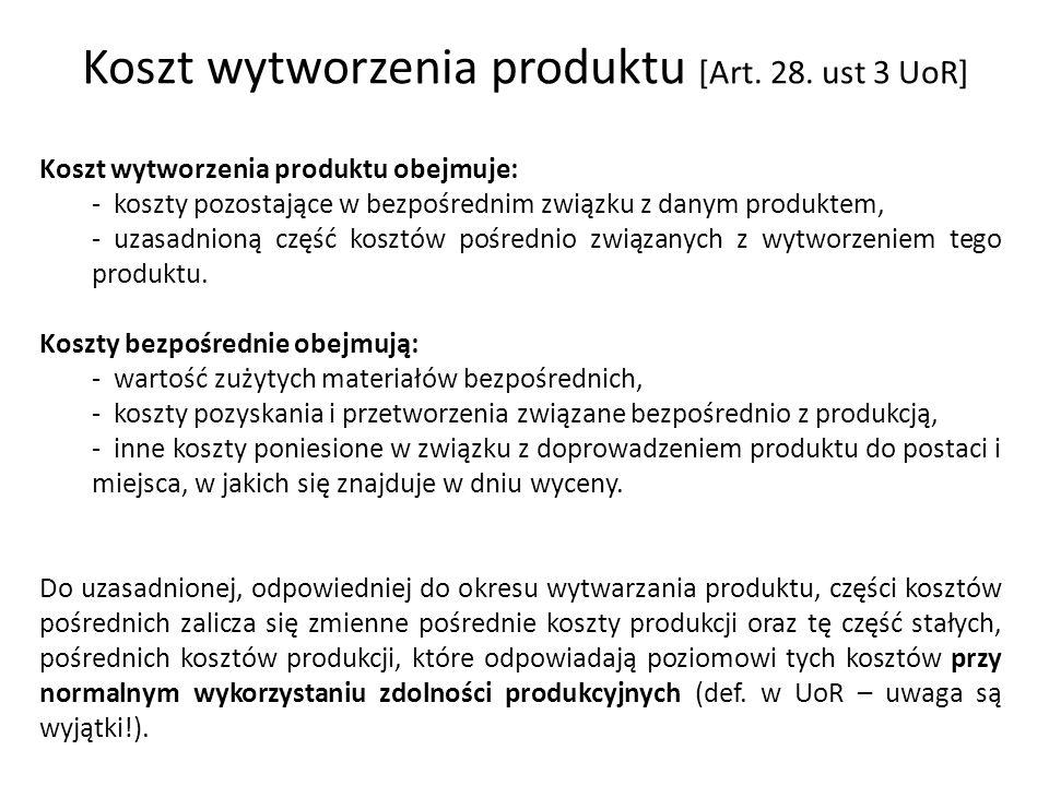 Koszt wytworzenia produktu [Art. 28. ust 3 UoR]